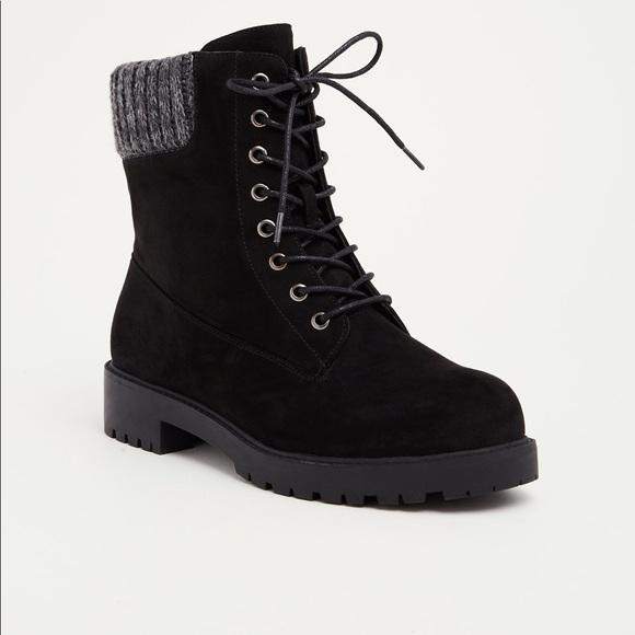 71090ffeb7b NWT Torrid sweater trim black combat boots wide